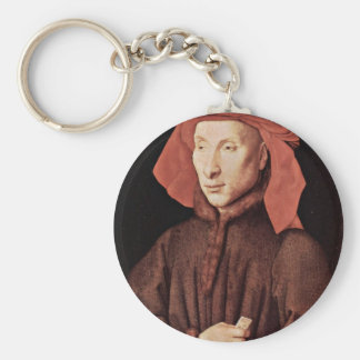 Portrait Of Giovanni Arnolfini By Eyck Jan Van (Be Basic Round Button Key Ring
