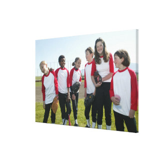 portrait of girl softball team canvas print