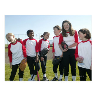portrait of girl softball team postcard