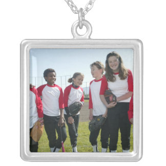 portrait of girl softball team silver plated necklace