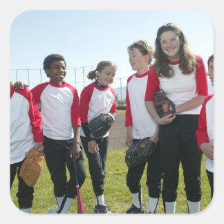 portrait of girl softball team square sticker