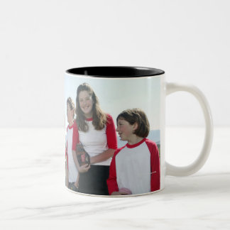 portrait of girl softball team Two-Tone coffee mug