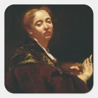 Portrait of Giulia Lama (fl.1728) Square Sticker