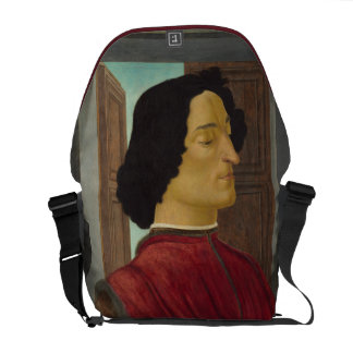 Portrait of Giuliano de Medici by Botticelli Courier Bags