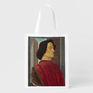 Portrait of Giuliano de Medici by Botticelli Reusable Grocery Bags