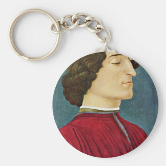 Portrait Of Giuliano De 'Medici By Botticelli Sand Basic Round Button Key Ring