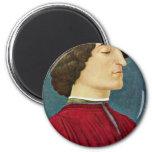 Portrait Of Giuliano De 'Medici By Botticelli Sand Fridge Magnet