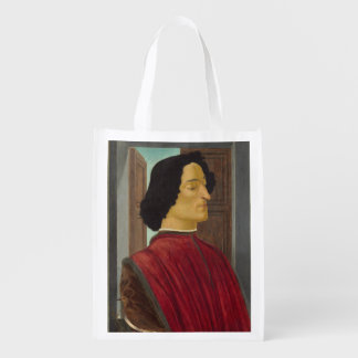 Portrait of Giuliano de Medici by Botticelli Reusable Grocery Bags