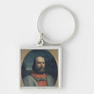 Portrait of Giuseppe Garibaldi 2 Silver-Colored Square Key Ring