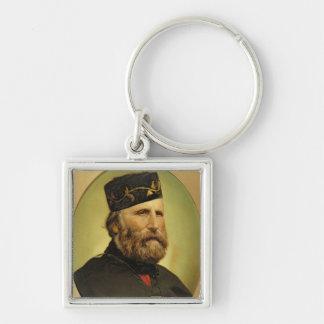 Portrait of Giuseppe Garibaldi Silver-Colored Square Key Ring