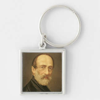 Portrait of Giuseppe Mazzini Silver-Colored Square Key Ring