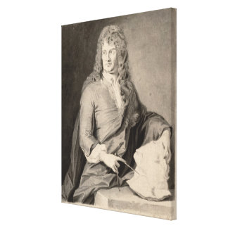 Portrait of Grinling Gibbons (1648-1721) (w/c on p Canvas Print