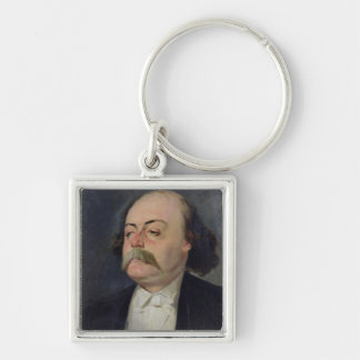Portrait of Gustave Flaubert  1868-81 Silver-Colored Square Key Ring