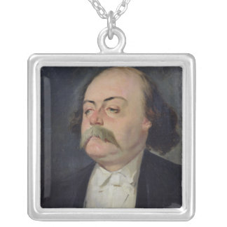 Portrait of Gustave Flaubert  1868-81 Silver Plated Necklace