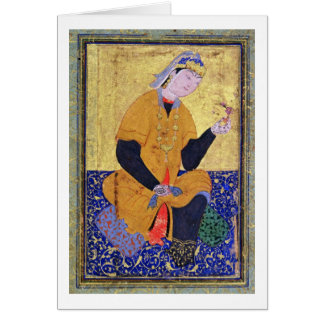Portrait of Hamida Banu Begum, holding a seal, ill Greeting Card