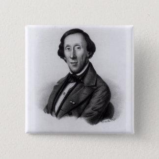 Portrait of Hans Christian Andersen 15 Cm Square Badge