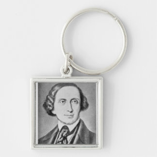 Portrait of Hans Christian Andersen 2 Silver-Colored Square Key Ring