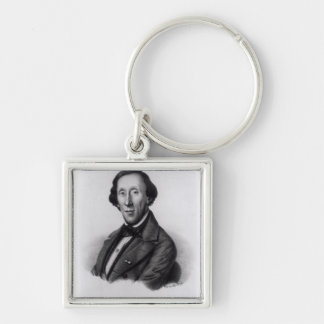 Portrait of Hans Christian Andersen Silver-Colored Square Key Ring