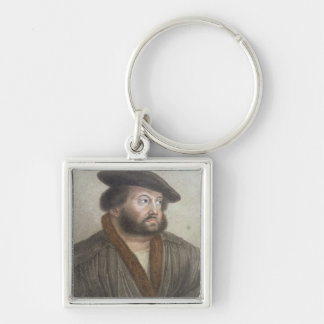 Portrait of Hans Holbein (1497/8-1543) engraved by Silver-Colored Square Key Ring