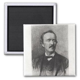 Portrait of Heinrich Schliemann Square Magnet