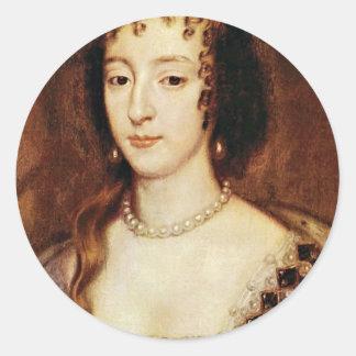 Portrait Of Henrietta Of France Queen Of England Classic Round Sticker