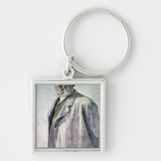 Portrait of Henrik Ibsen, 1895 Silver-Colored Square Key Ring