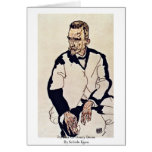 Portrait Of Henry Benes By Schiele Egon Greeting Card