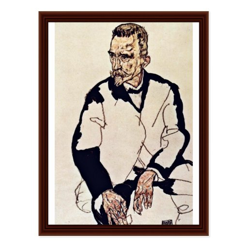 Portrait Of Henry Benes By Schiele Egon Postcard