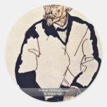 Portrait Of Henry Benes By Schiele Egon Round Stickers