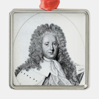 Portrait of Henry St. John  1st Viscount Silver-Colored Square Decoration