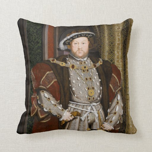Portrait of Henry VIII by Hans Holbein the Younger Throw Pillows