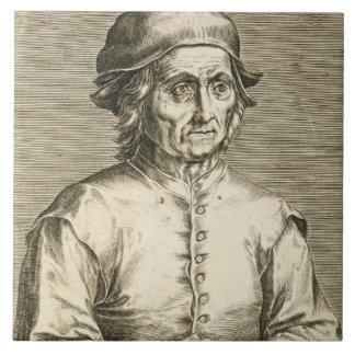 Portrait of Hieronymus Bosch (c.1450-1516) plate 3 Large Square Tile