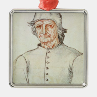 Portrait of Hieronymus Bosch Silver-Colored Square Decoration