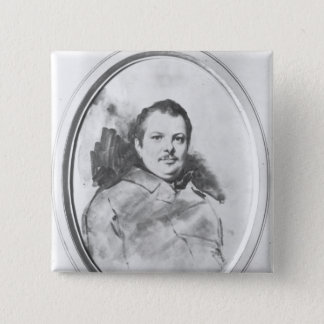 Portrait of Honore de Balzac  c.1820 15 Cm Square Badge