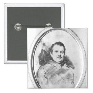 Portrait of Honore de Balzac  c.1820 15 Cm Square Badge