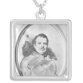 Portrait of Honore de Balzac  c.1820 Silver Plated Necklace