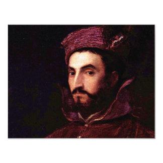 Portrait Of Ippolito De 'Medici. By Tizian 11 Cm X 14 Cm Invitation Card