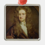 Portrait of Isaac Newton  1702 Silver-Colored Square Decoration