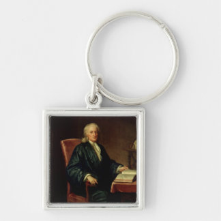 Portrait of Isaac Newton , c.1726 Silver-Colored Square Key Ring