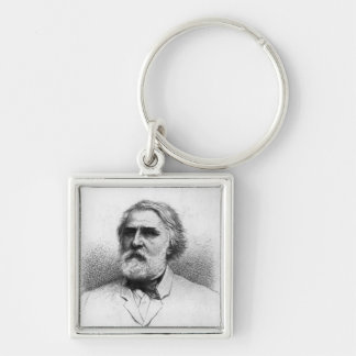 Portrait of Ivan Turgenev Silver-Colored Square Key Ring
