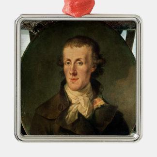 Portrait of Jacques Pierre Brissot Silver-Colored Square Decoration