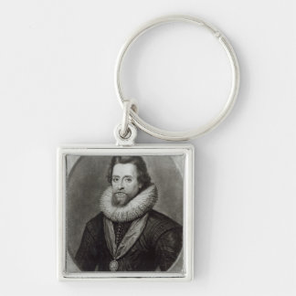 Portrait of James I  after a miniature by Silver-Colored Square Key Ring