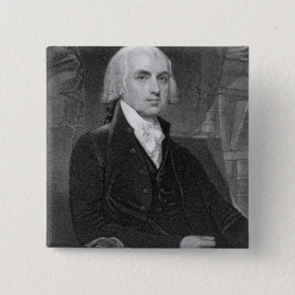 Portrait of James Madison, engraved by William A. 15 Cm Square Badge