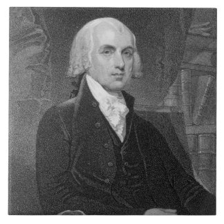 Portrait of James Madison, engraved by William A. Large Square Tile