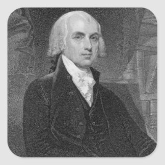 Portrait of James Madison, engraved by William A. Square Sticker