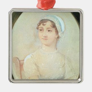 Portrait of Jane Austen Silver-Colored Square Decoration