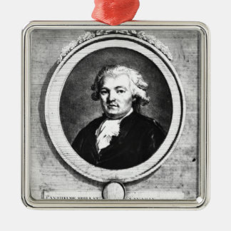 Portrait of Jean-Anthelme Brillat-Savarin Silver-Colored Square Decoration