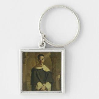 Portrait of Jean Baptiste Henri Lacordaire Silver-Colored Square Key Ring