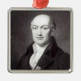 Portrait of Jean Baptiste Joseph Delambre Silver-Colored Square Decoration