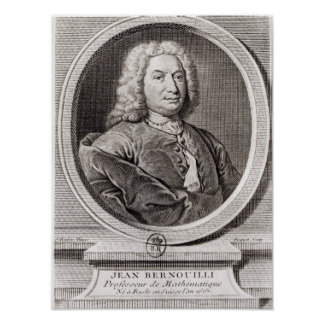 Portrait of Jean Bernoulli  engraved by Poster